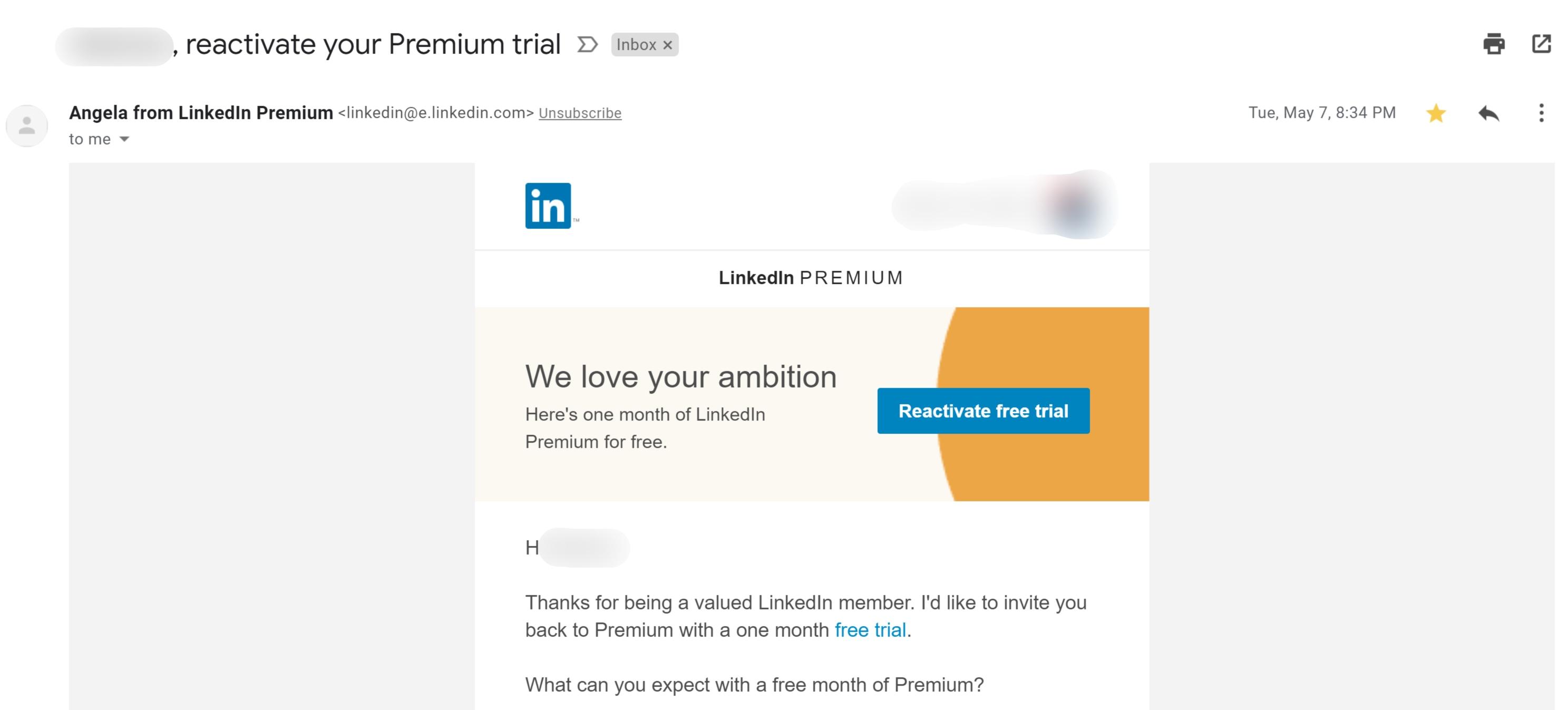 Free Linkedin Premium Reactivation offer via Email