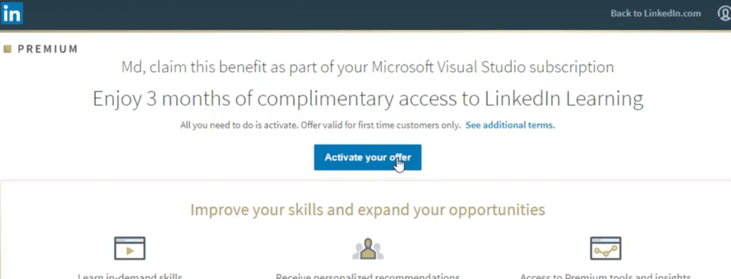 How to get LinkedIn Premium and LinkedIn Learning for free - activation