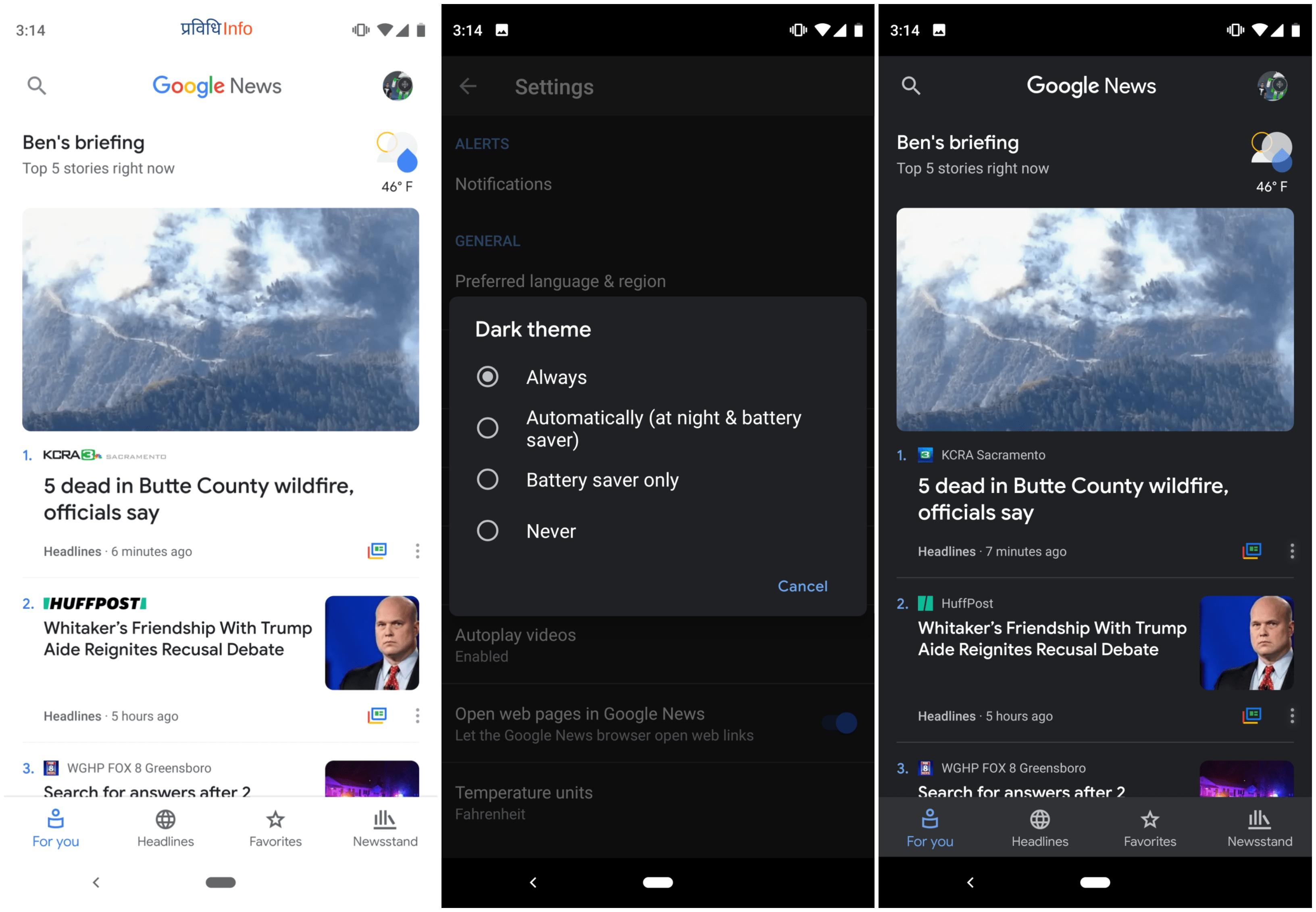 Dark Theme on Google News Android