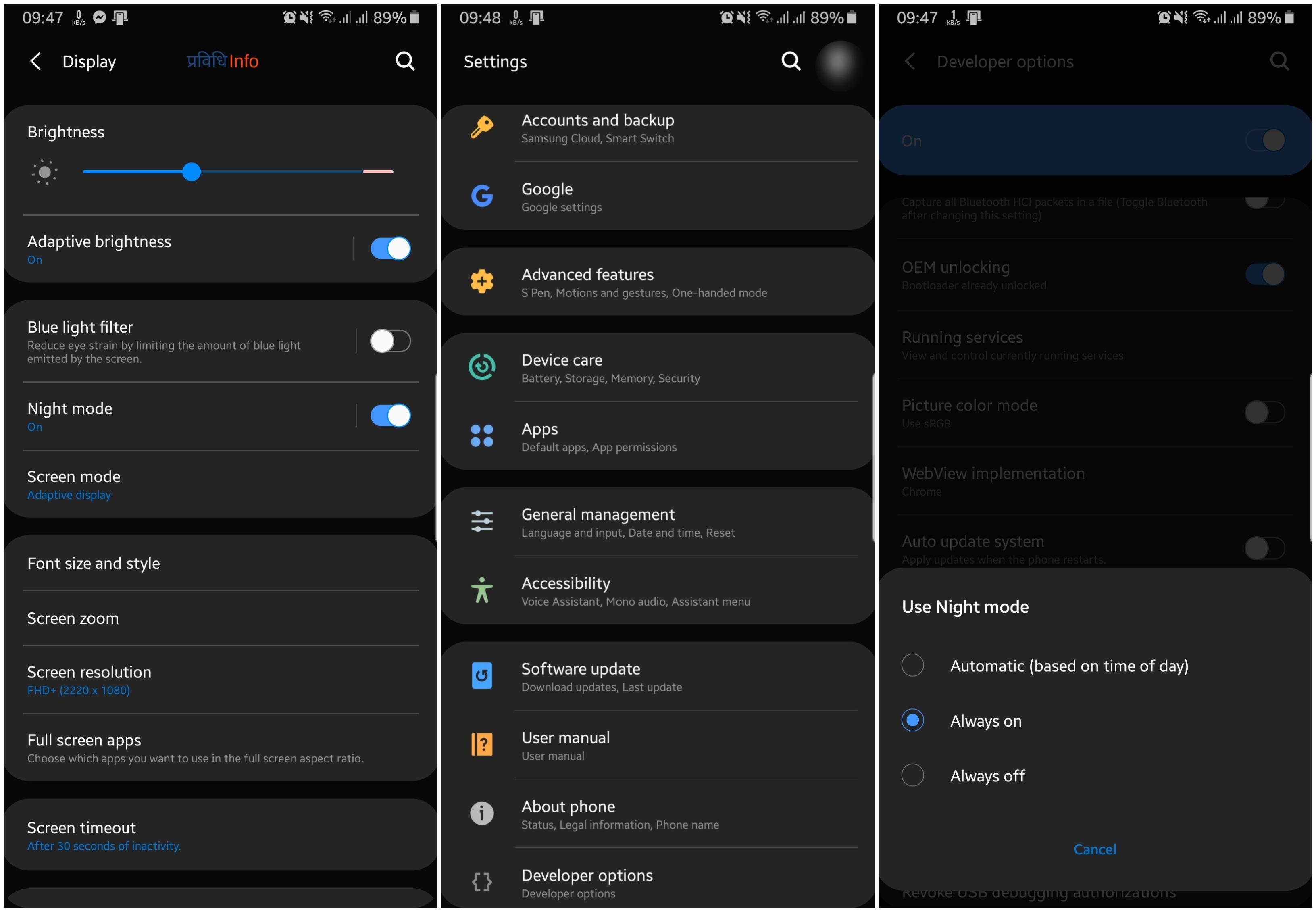 Night Dark Mode on Samsung Galaxy Note 8 OneUI