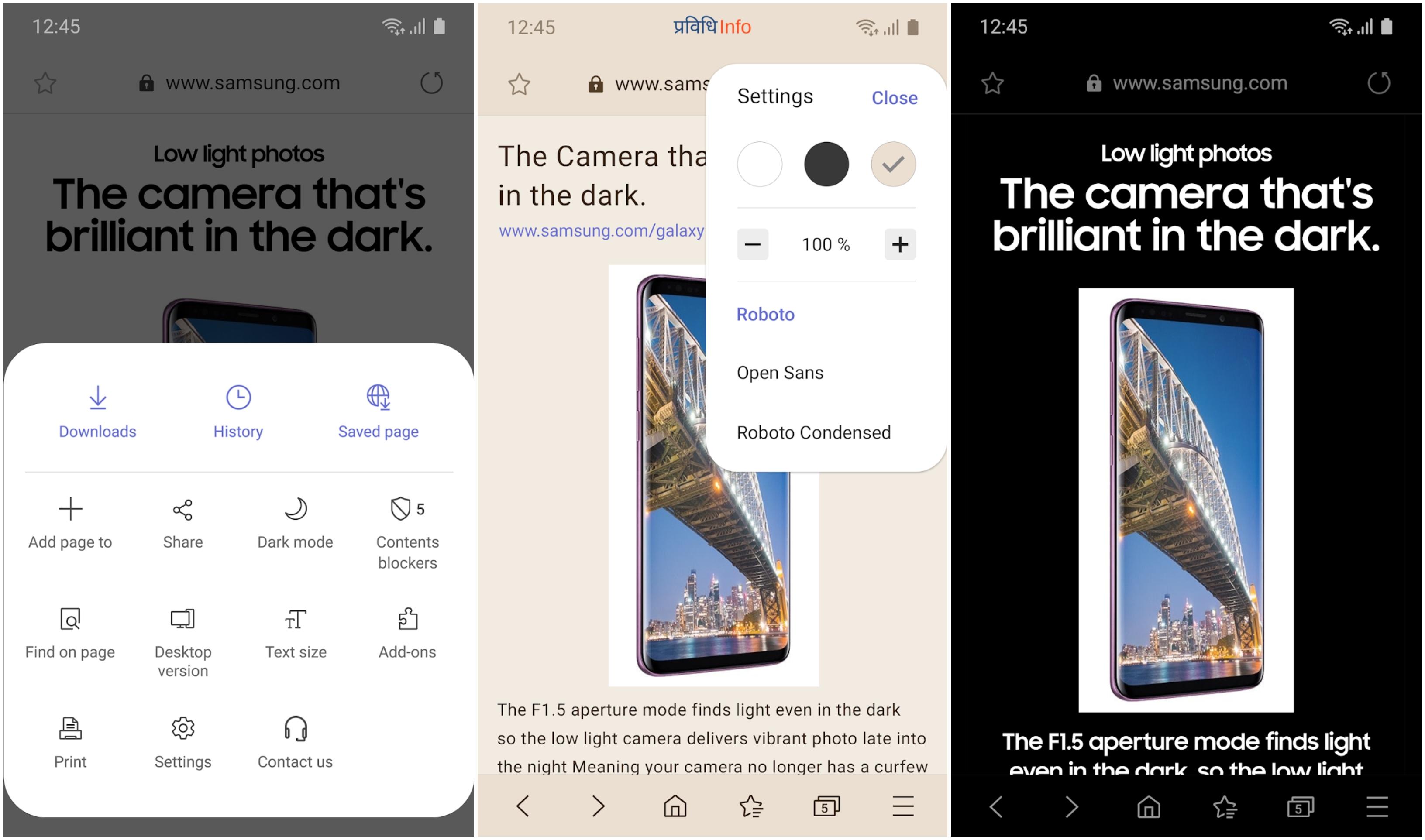 Night Dark Mode on Samsung Internet