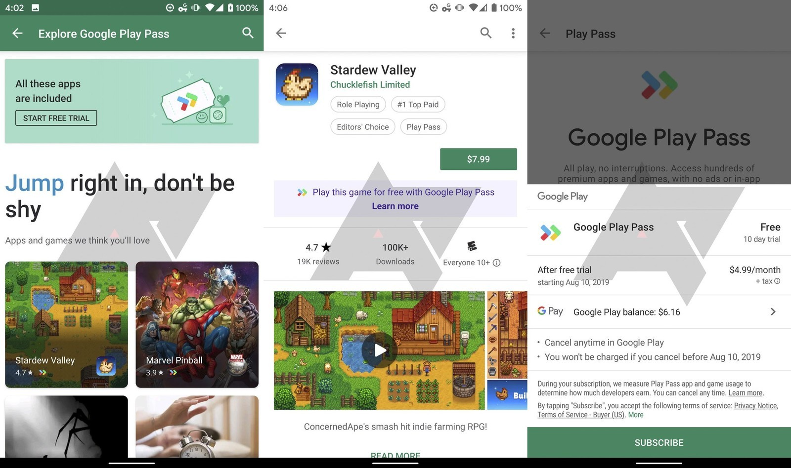 Google Play Pass screenshots from Android Police 2