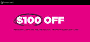 Pluralsight $100 off discount offer