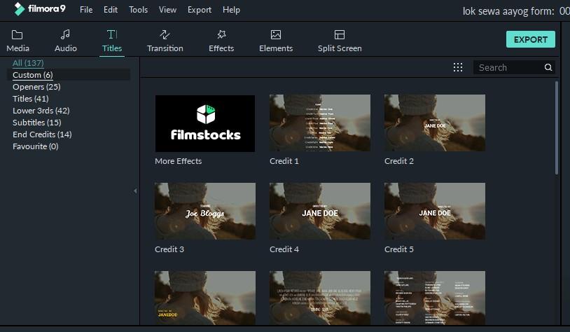 filmora9 titles