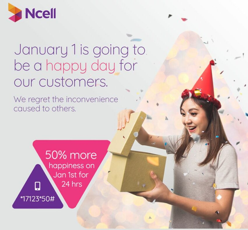 Ncell Happy New Year 2020, 50% Off Offer in Data Packs for 24 hours