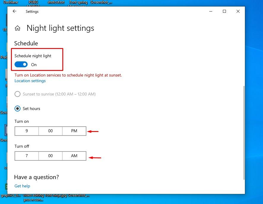 Windows 10 Night Light Schedule