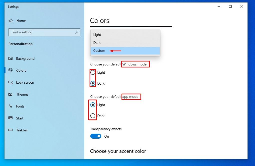 Windows 10 mixed (dark and light theme)