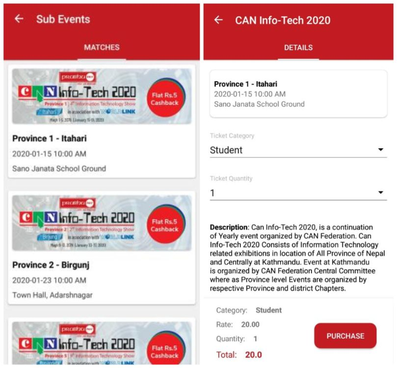 can info tech 2020 province-1-ithari-ticket price prabhu pay