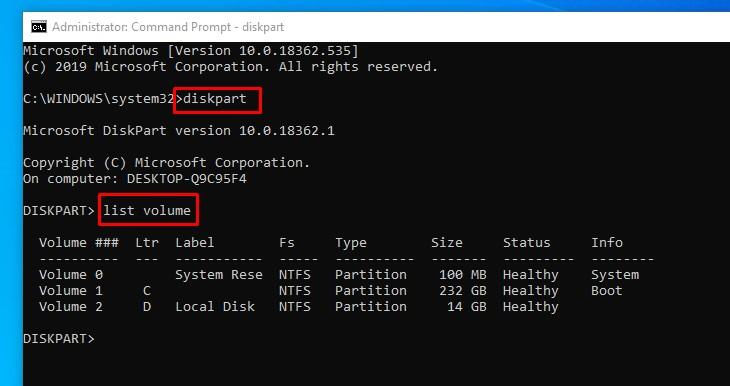 diskpart and list volume details