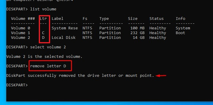 drive letter in cmd