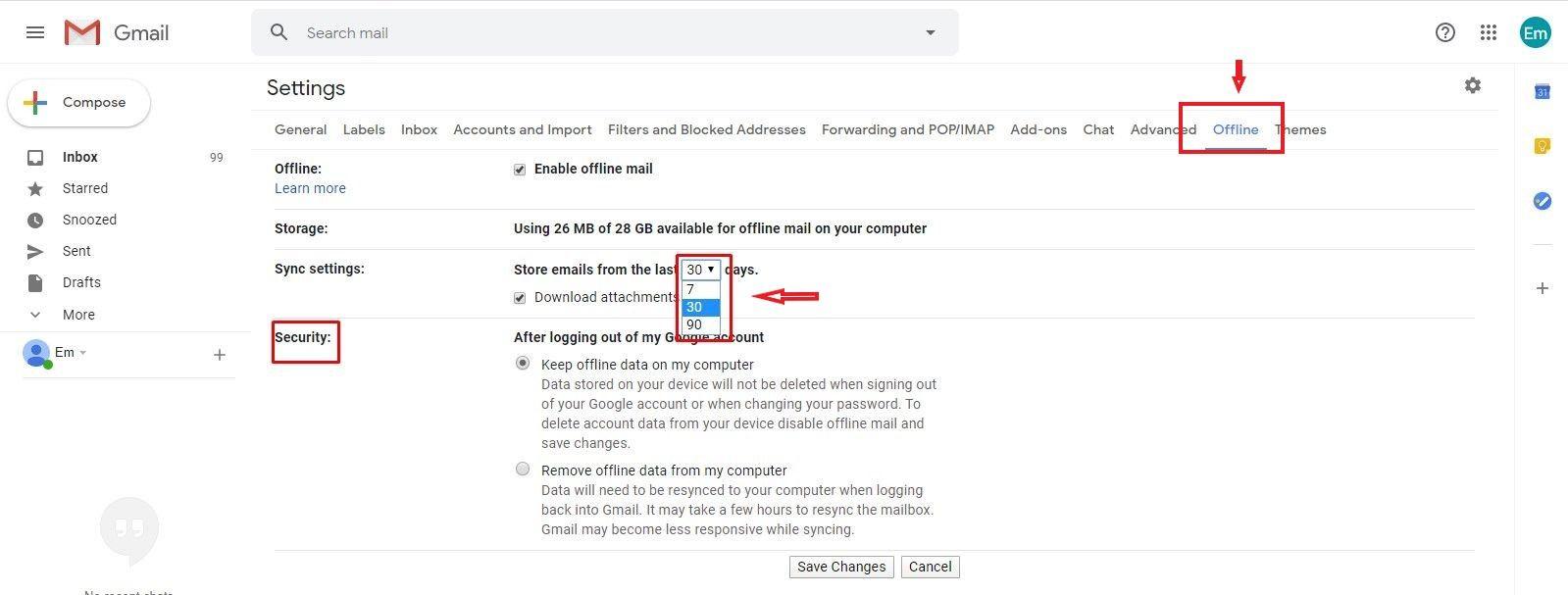 enable gmail offline-mode google chrome
