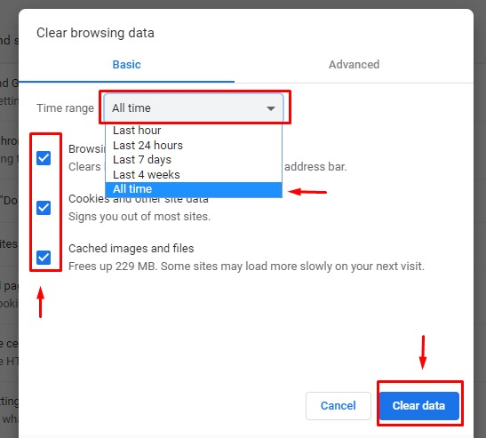 google chrome setting clear cache and cookies