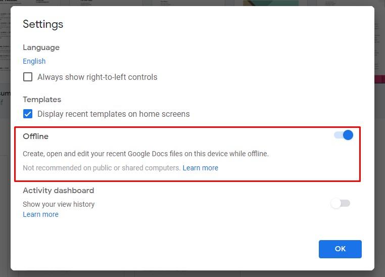 google doc enable offline mode