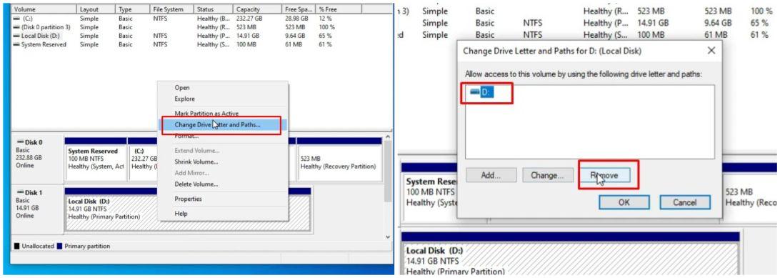 hide drive using disk management