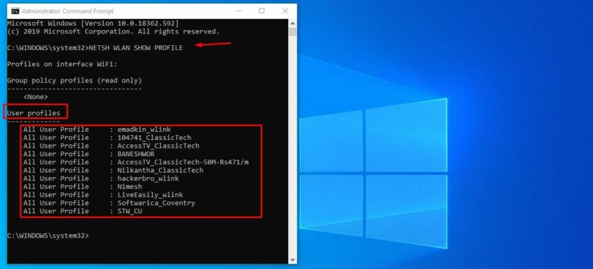 how to find password of all connected network using cmd on Windows 10