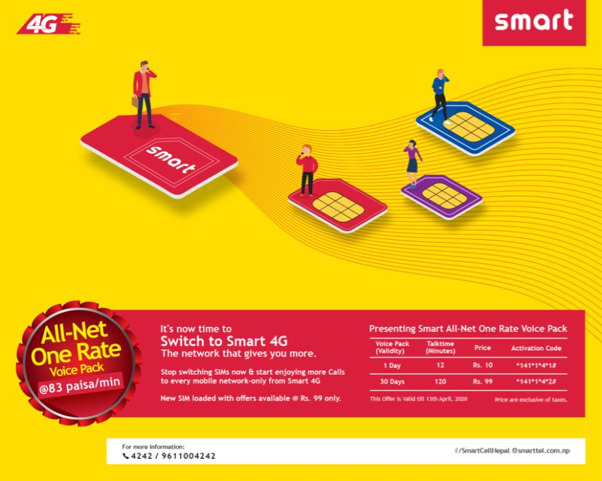 smart cell All-Net One Rate Voice Pack' offer