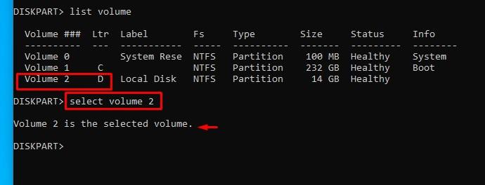 volume selection cmd
