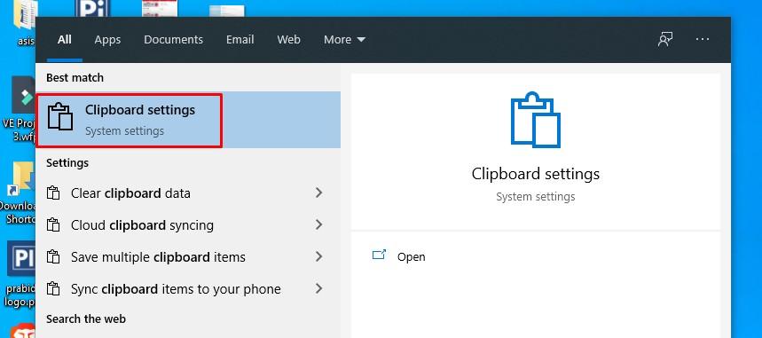 windows 10 clear data clipboard history setting