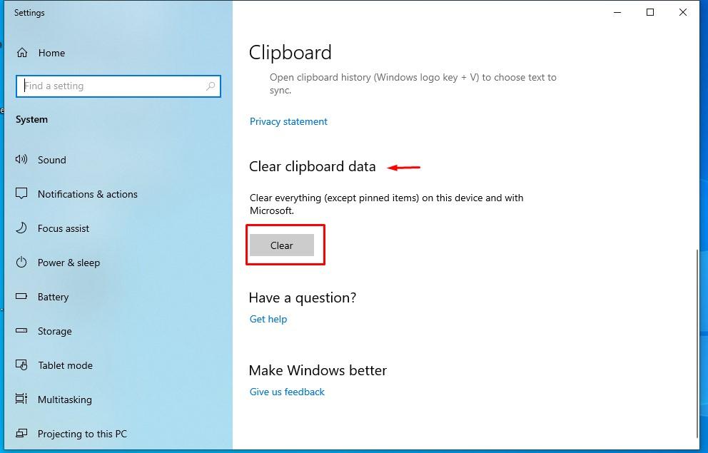 windows 10 clear data clipboard history