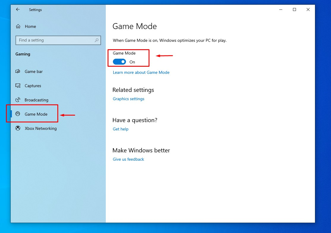 windows 10 enable game mode toggle
