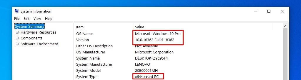windows 10 sytem information build-version-number