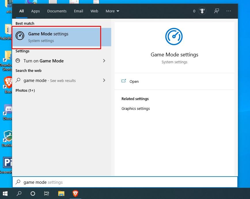 windows game mode settings