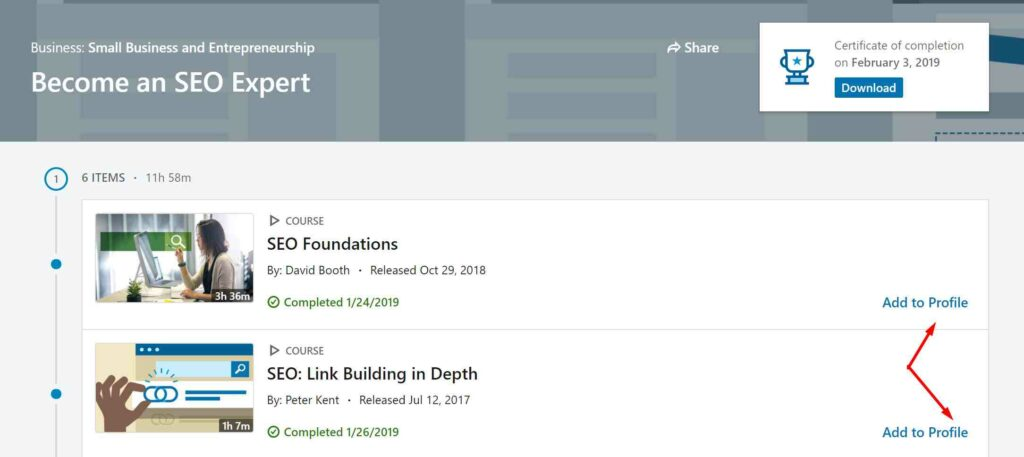 LinkedIn Learning Certificates of Completion