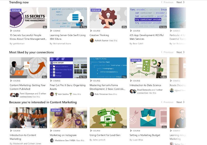 LinkedIn Learning, Lynda Getting Started HomePage