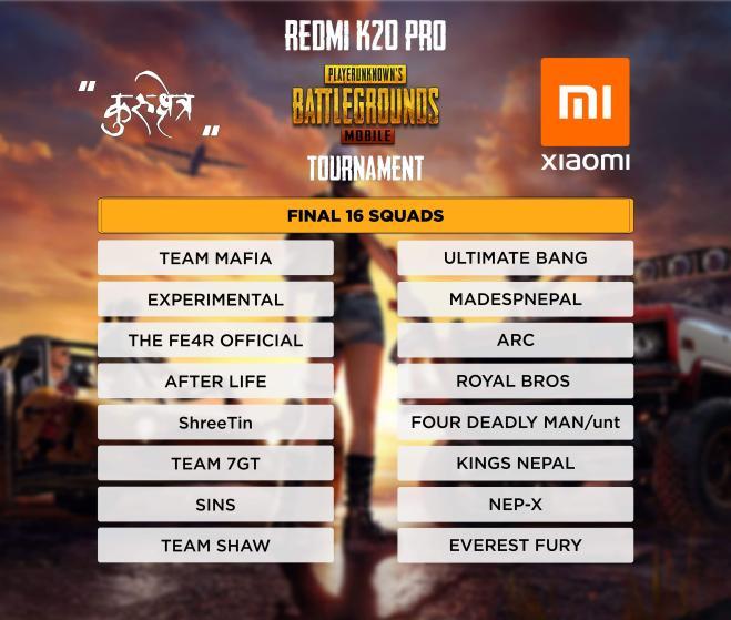 Xiaomi Redmi K20 Pro Finale team list