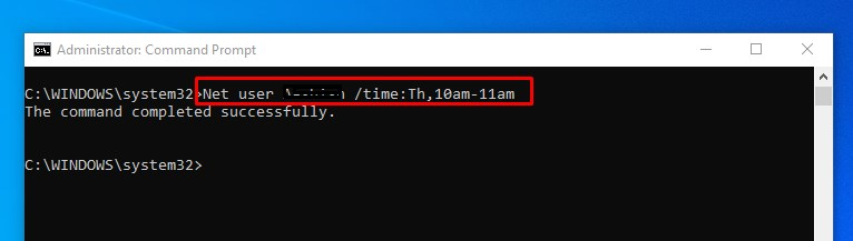 set a time limit for a Windows 10 user