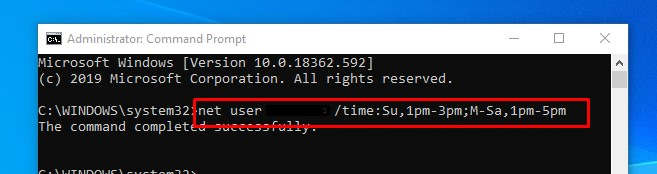 time-limit for user on Windows 10 multiple days and time range
