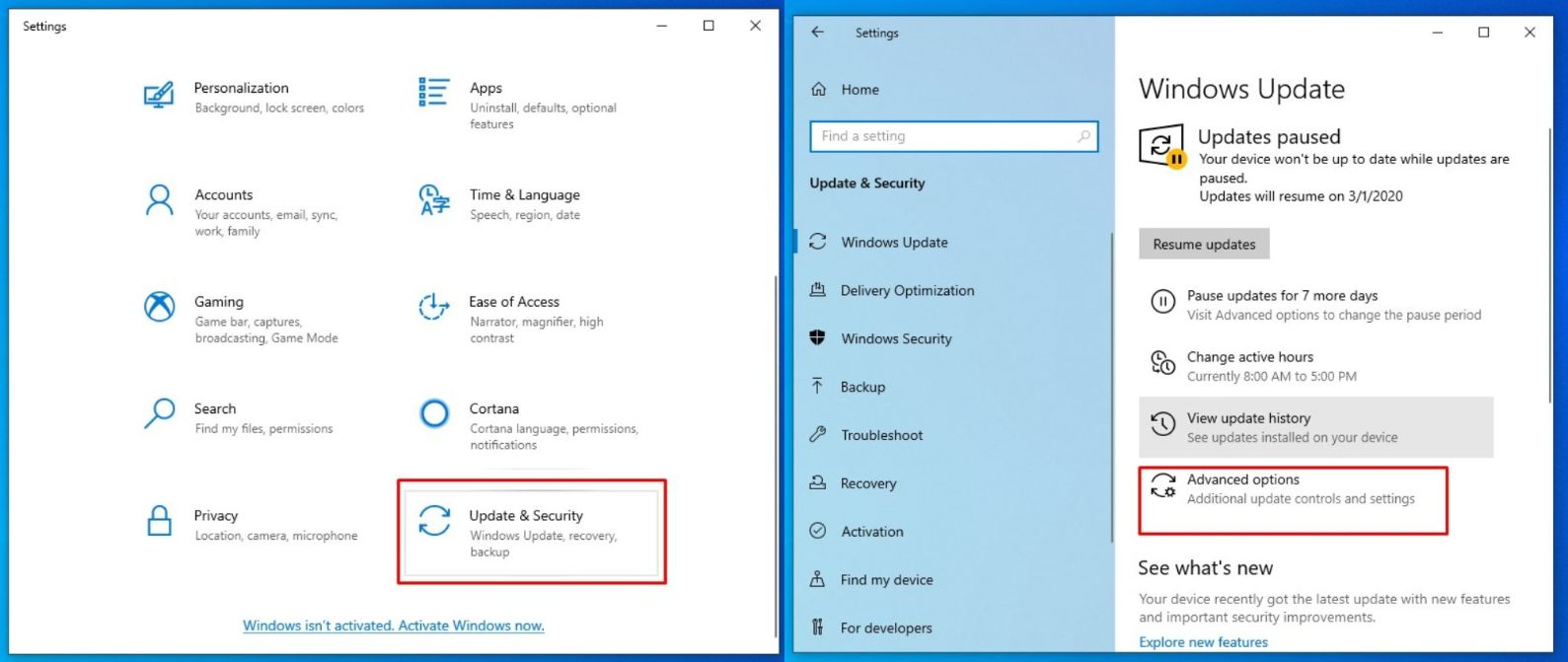 windows 10 update and security advance option