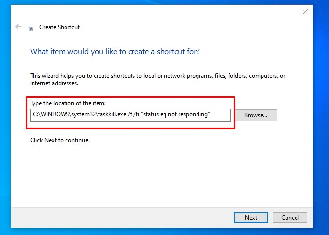 How to force shutdown unresponsive program task in Windows 10 by creating Taskkill Shortcut