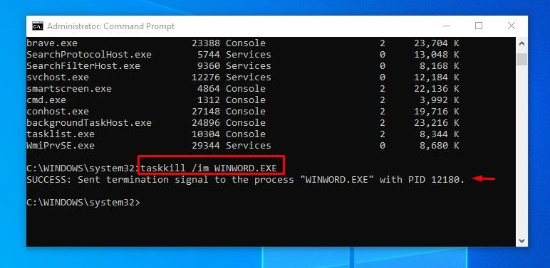 How to force shutdown unresponsive program task in Windows 10 using Windows Command Prompt