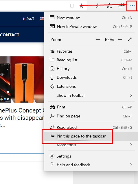 How to pin website on Taskbar using Microsoft Edge