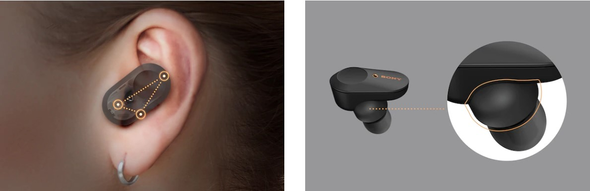 Sony WF-1000XM3 Earbuds rubbre foam eartips