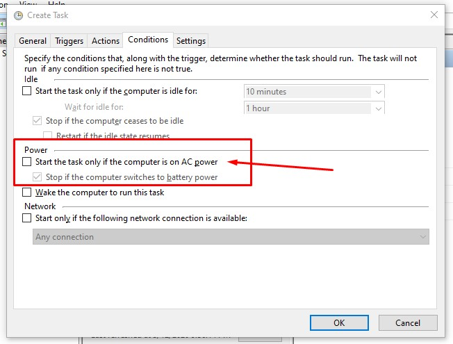 create task conditions