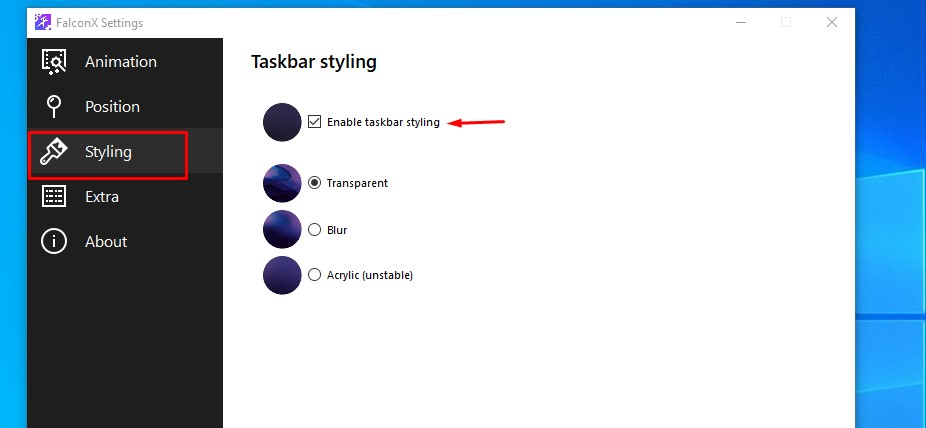 falcon x settings styling tab