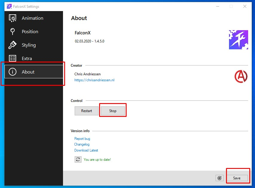 how to exit falconx taskbar icon