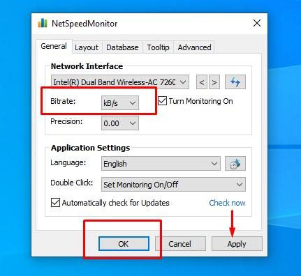 netspeedmeter setting change birtrate