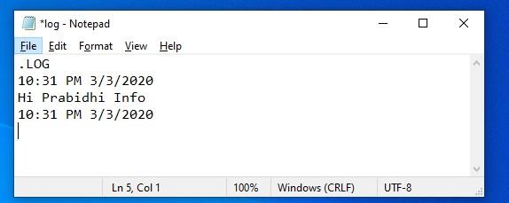 notepad create log