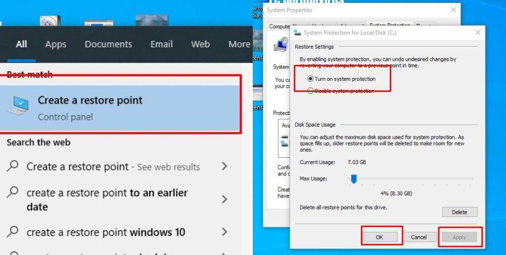 system restore point windows 10