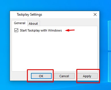 taskplay setting startup