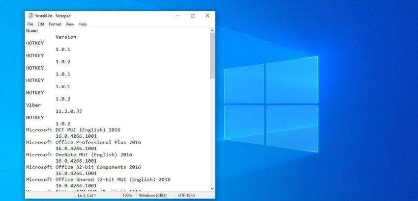 windows 10 cmd install list
