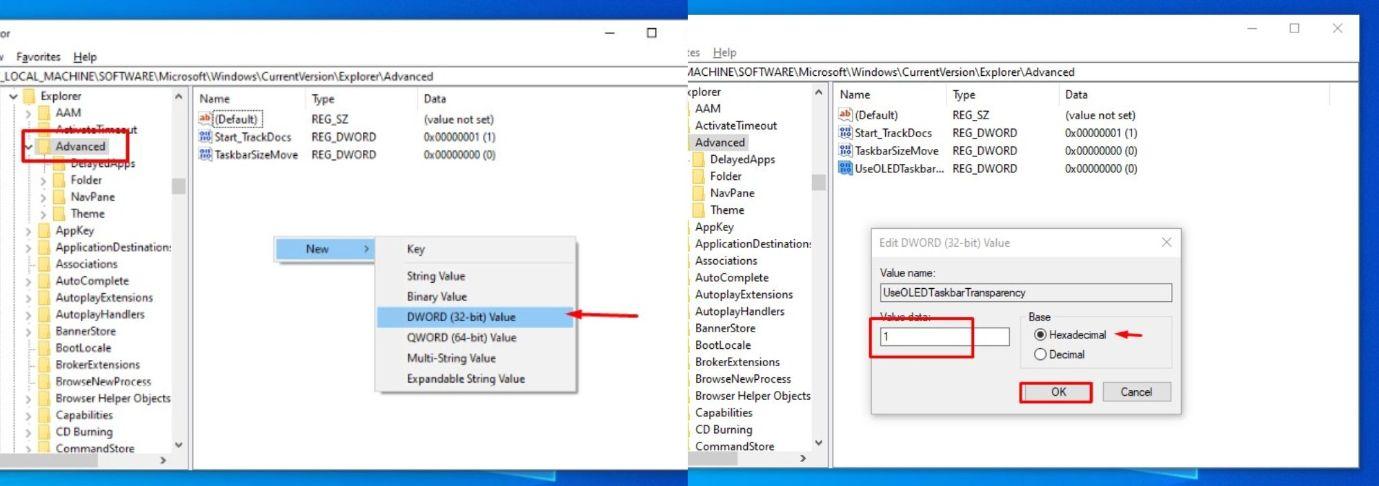 windows 10 registry taskbar transparency