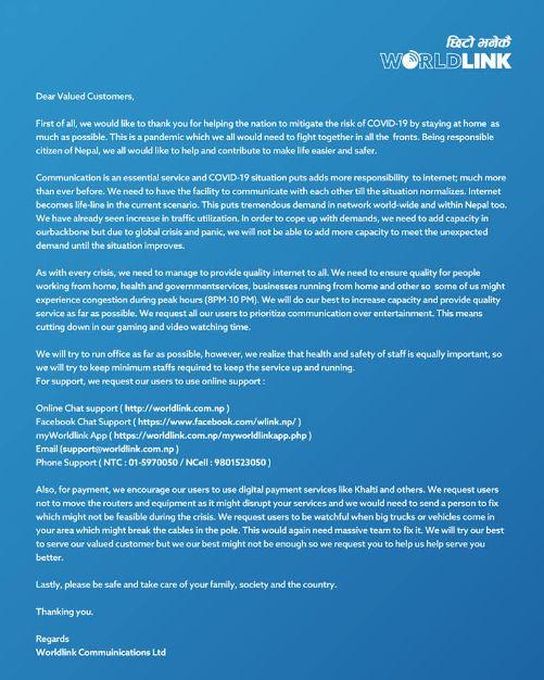 worldlink nepal notice coronavirus